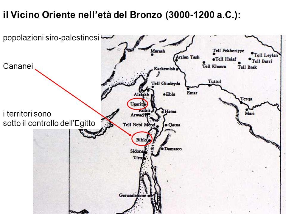 il Vicino Oriente nelletà del Bronzo (3000-1200 a.C.): popolazioni siro-palestinesi Cananei i territori sono sotto il controllo dellEgitto