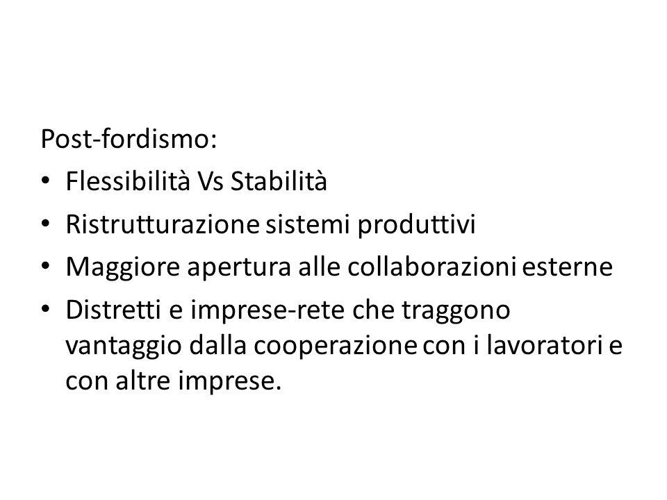 Post-fordismo: Flessibilità Vs Stabilità Ristrutturazione sistemi produttivi Maggiore apertura alle collaborazioni esterne Distretti e imprese-rete ch