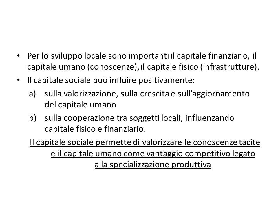 Per lo sviluppo locale sono importanti il capitale finanziario, il capitale umano (conoscenze), il capitale fisico (infrastrutture). Il capitale socia
