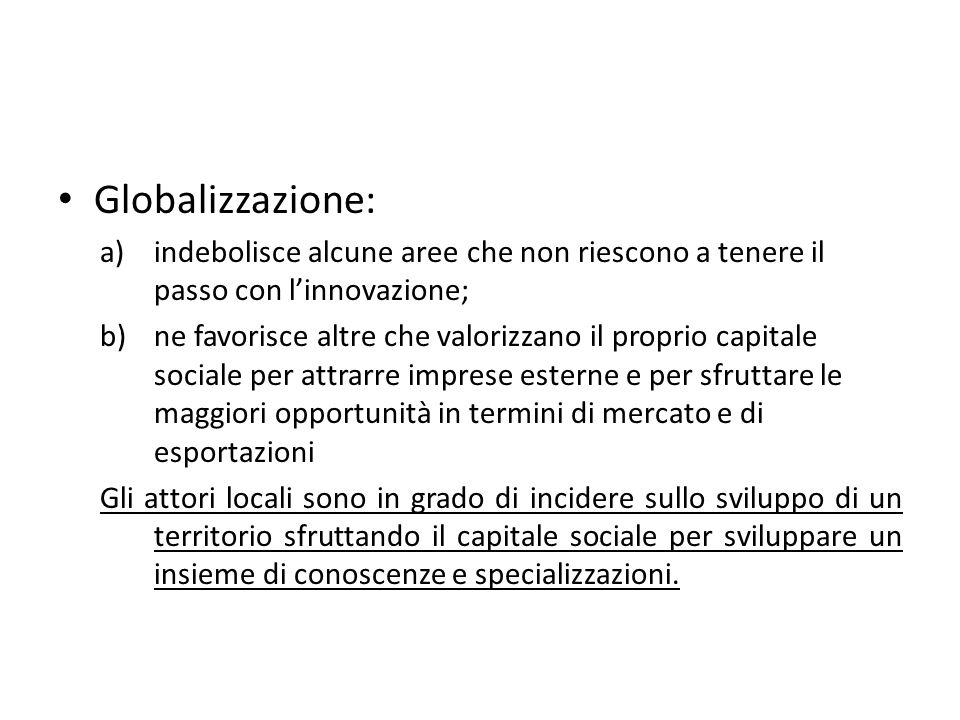 Globalizzazione: a)indebolisce alcune aree che non riescono a tenere il passo con linnovazione; b)ne favorisce altre che valorizzano il proprio capita