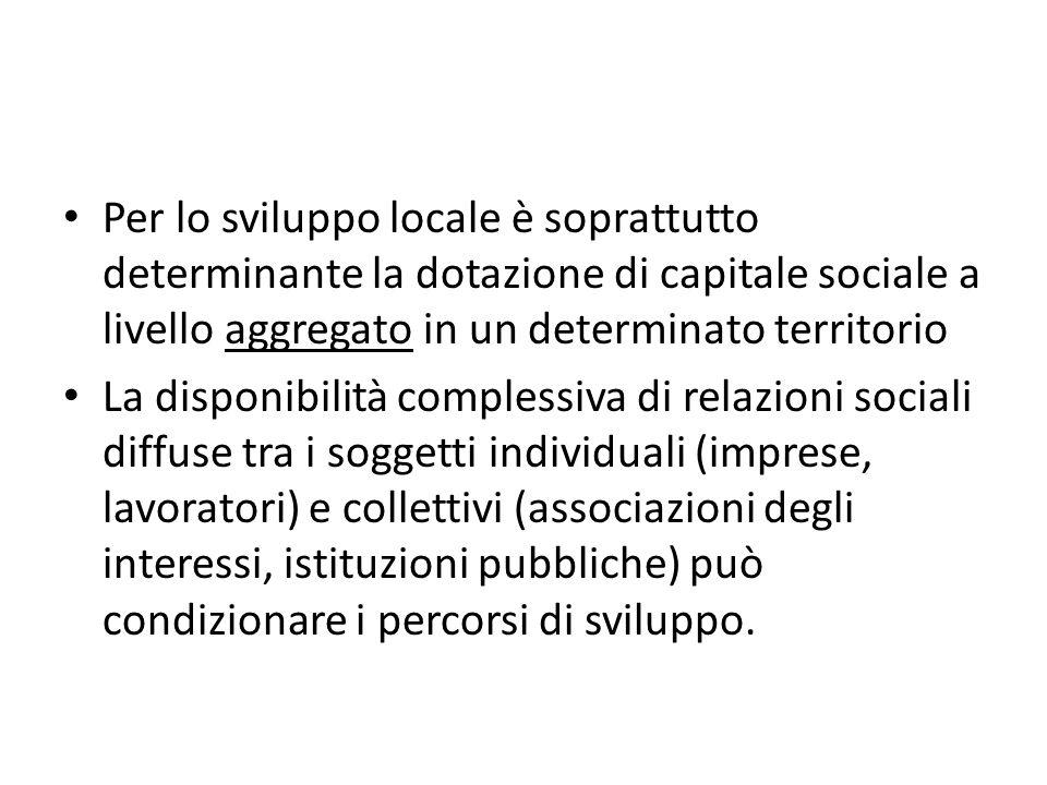 Per lo sviluppo locale è soprattutto determinante la dotazione di capitale sociale a livello aggregato in un determinato territorio La disponibilità c