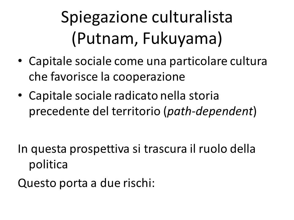 Spiegazione culturalista (Putnam, Fukuyama) Capitale sociale come una particolare cultura che favorisce la cooperazione Capitale sociale radicato nell