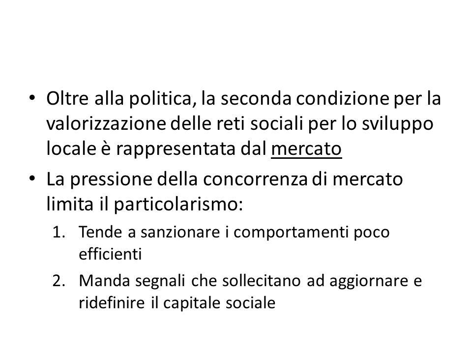Oltre alla politica, la seconda condizione per la valorizzazione delle reti sociali per lo sviluppo locale è rappresentata dal mercato La pressione de