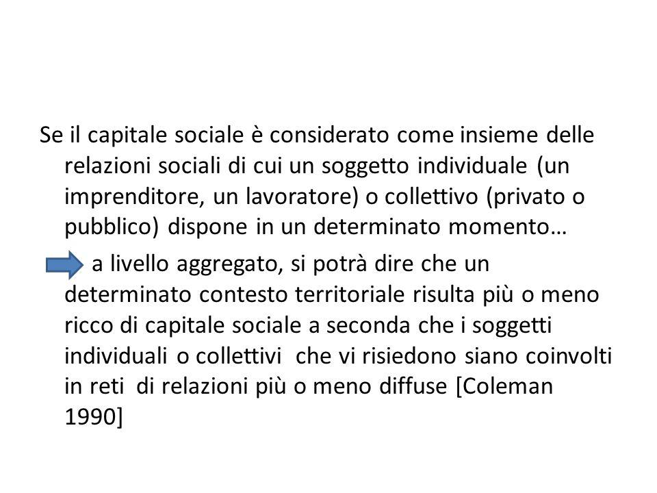 Se il capitale sociale è considerato come insieme delle relazioni sociali di cui un soggetto individuale (un imprenditore, un lavoratore) o collettivo