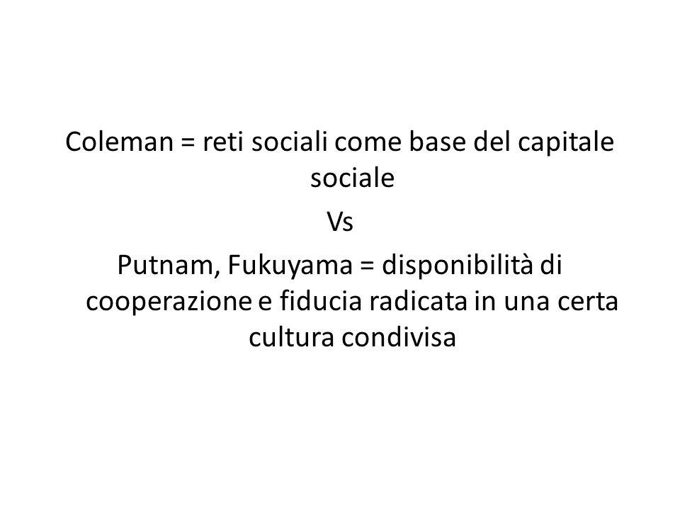 Coleman = reti sociali come base del capitale sociale Vs Putnam, Fukuyama = disponibilità di cooperazione e fiducia radicata in una certa cultura cond