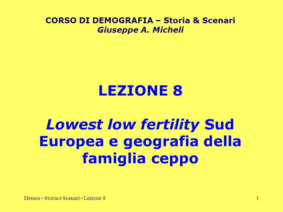Demos - Storia e Scenari - Lezione 81 LEZIONE 8 Lowest low fertility Sud Europea e geografia della famiglia ceppo CORSO DI DEMOGRAFIA – Storia & Scena