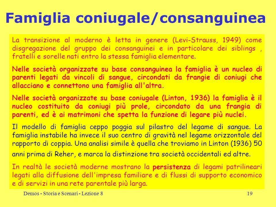 Demos - Storia e Scenari - Lezione 819 Famiglia coniugale/consanguinea La transizione al moderno è letta in genere (Levi-Strauss, 1949) come disgregaz
