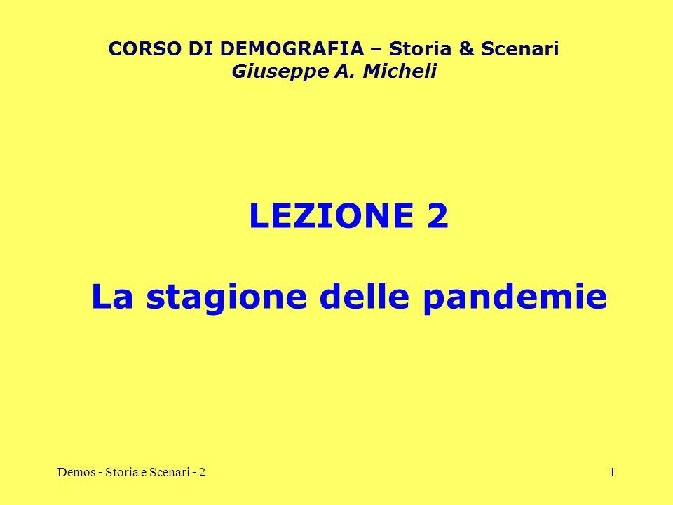 Demos - Storia e Scenari - 21 LEZIONE 2 La stagione delle pandemie CORSO DI DEMOGRAFIA – Storia & Scenari Giuseppe A. Micheli