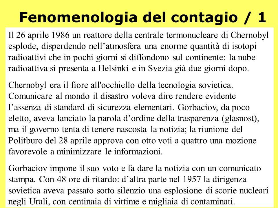 Demos - Storia e Scenari - 214 Fenomenologia del contagio / 1 Il 26 aprile 1986 un reattore della centrale termonucleare di Chernobyl esplode, disperd