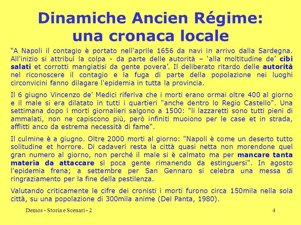 Demos - Storia e Scenari - 24 Dinamiche Ancien Régime: una cronaca locale A Napoli il contagio è portato nell'aprile 1656 da navi in arrivo dalla Sard