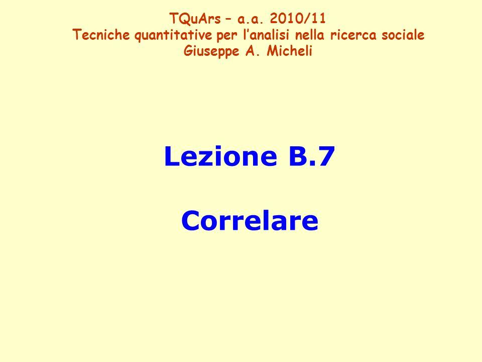 Lezione B.7 Correlare TQuArs – a.a. 2010/11 Tecniche quantitative per lanalisi nella ricerca sociale Giuseppe A. Micheli