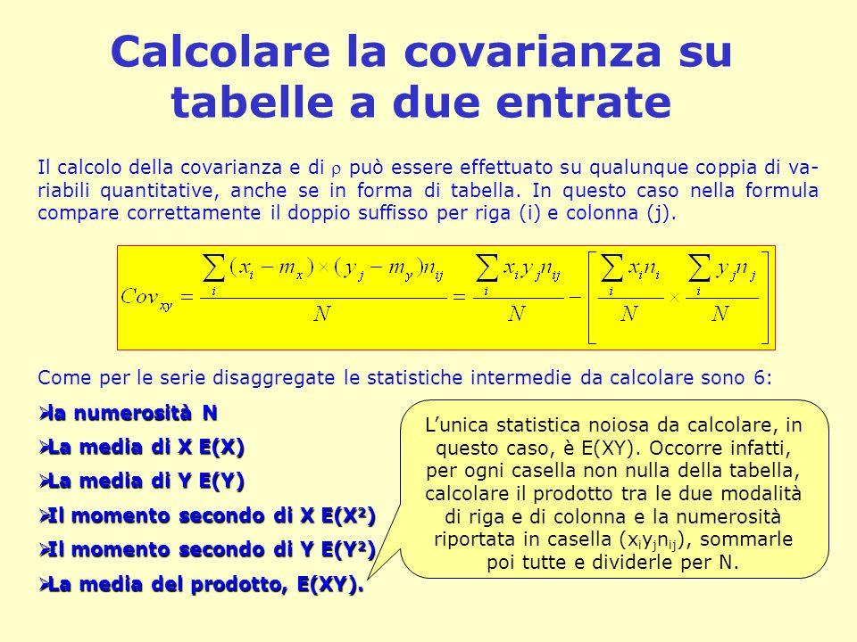 Calcolare la covarianza su tabelle a due entrate Il calcolo della covarianza e di può essere effettuato su qualunque coppia di va- riabili quantitativ