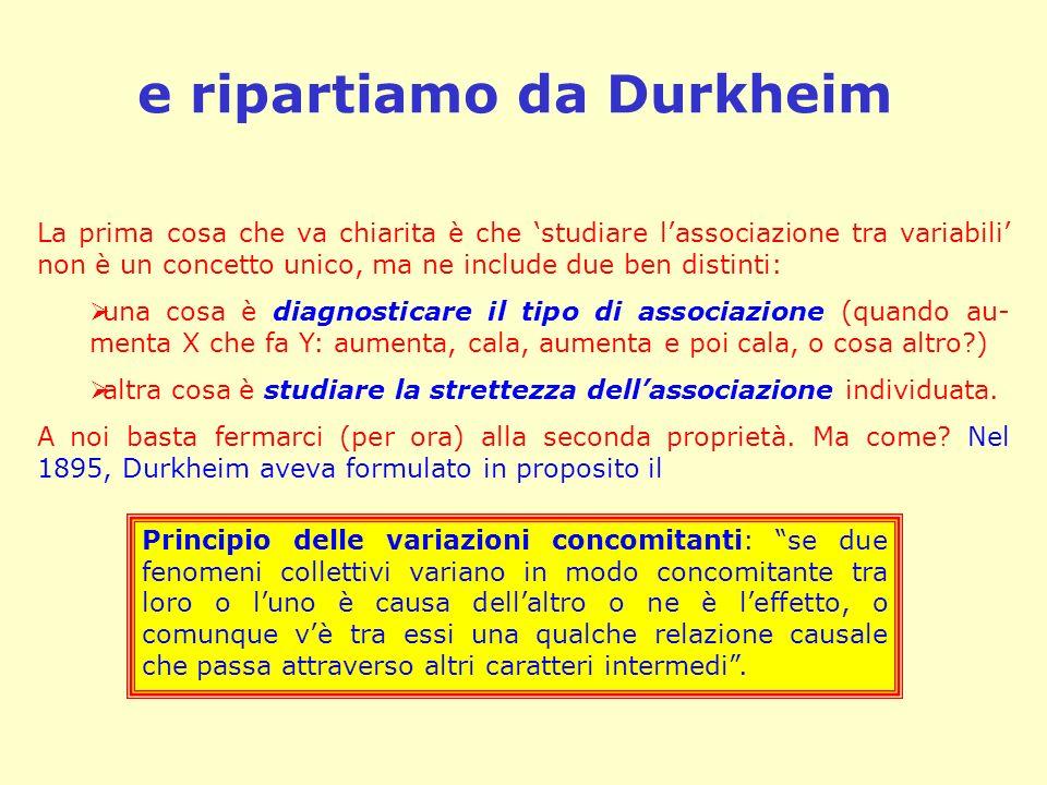 e ripartiamo da Durkheim La prima cosa che va chiarita è che studiare lassociazione tra variabili non è un concetto unico, ma ne include due ben disti