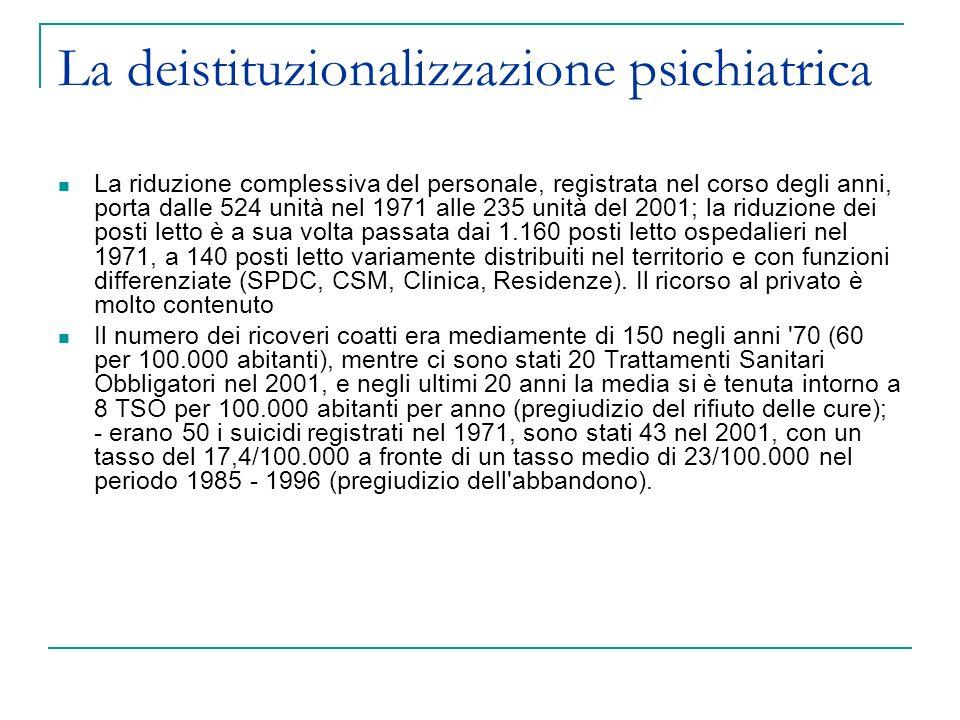 La deistituzionalizzazione psichiatrica La riduzione complessiva del personale, registrata nel corso degli anni, porta dalle 524 unità nel 1971 alle 2