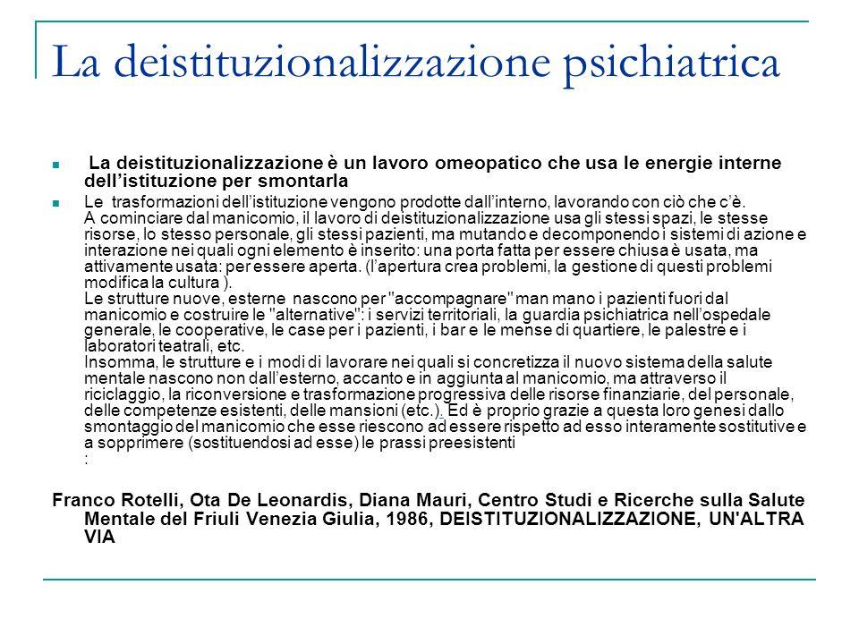 La deistituzionalizzazione psichiatrica La deistituzionalizzazione è un lavoro omeopatico che usa le energie interne dellistituzione per smontarla Le