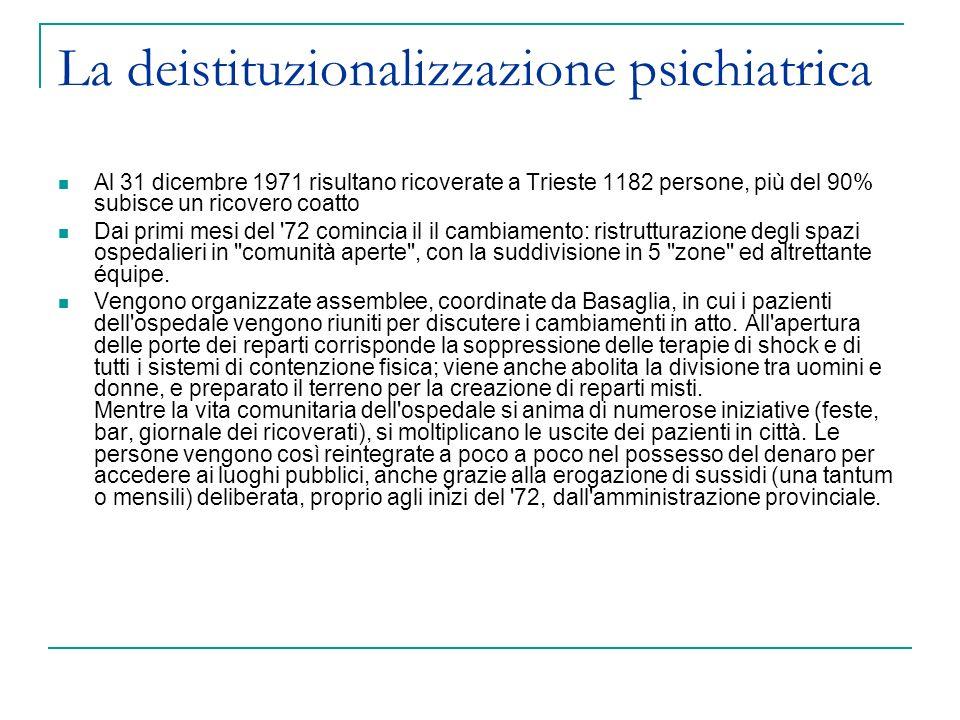 La deistituzionalizzazione psichiatrica Al 31 dicembre 1971 risultano ricoverate a Trieste 1182 persone, più del 90% subisce un ricovero coatto Dai pr