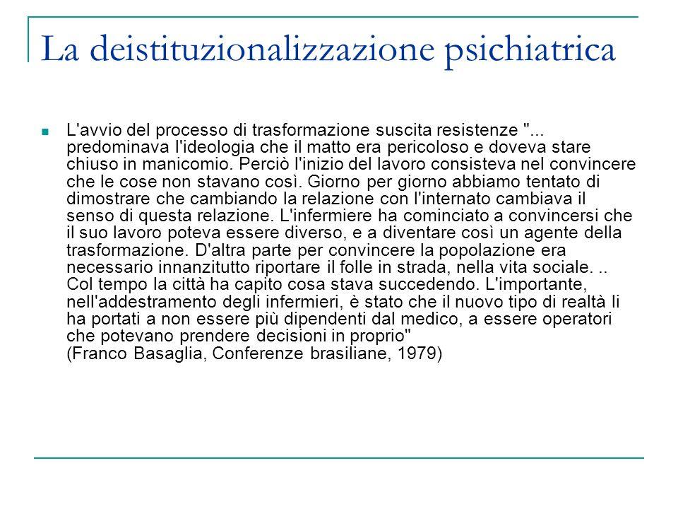 La deistituzionalizzazione psichiatrica Man mano che i grandi reparti vengono ridimensionati, si organizzano gruppi di convivenza e gruppi appartamento: dapprima all interno dell ospedale, poi in città.