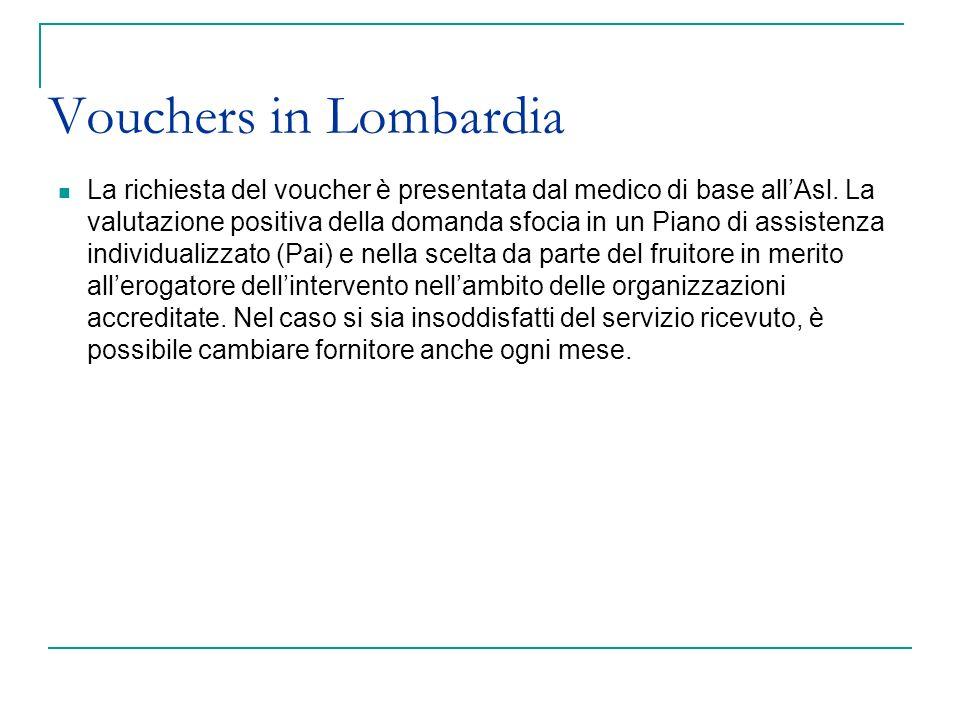 Vouchers in Lombardia La richiesta del voucher è presentata dal medico di base allAsl. La valutazione positiva della domanda sfocia in un Piano di ass