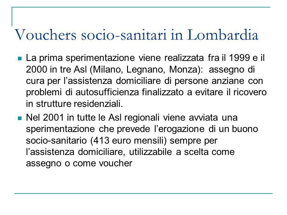 Vouchers socio-sanitari in Lombardia La prima sperimentazione viene realizzata fra il 1999 e il 2000 in tre Asl (Milano, Legnano, Monza): assegno di c