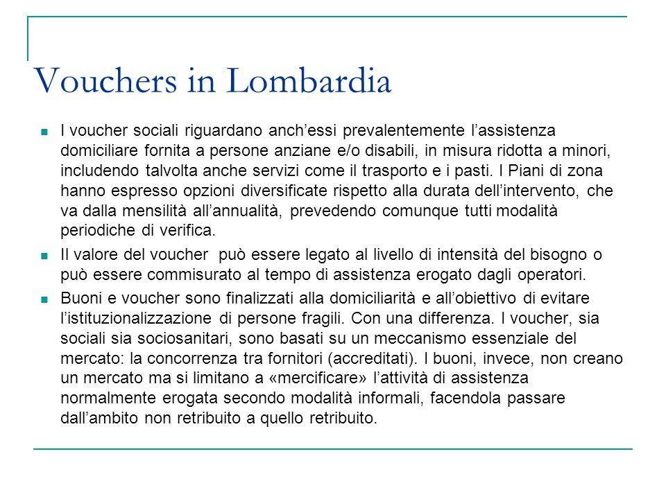 Vouchers in Lombardia I voucher sociali riguardano anchessi prevalentemente lassistenza domiciliare fornita a persone anziane e/o disabili, in misura
