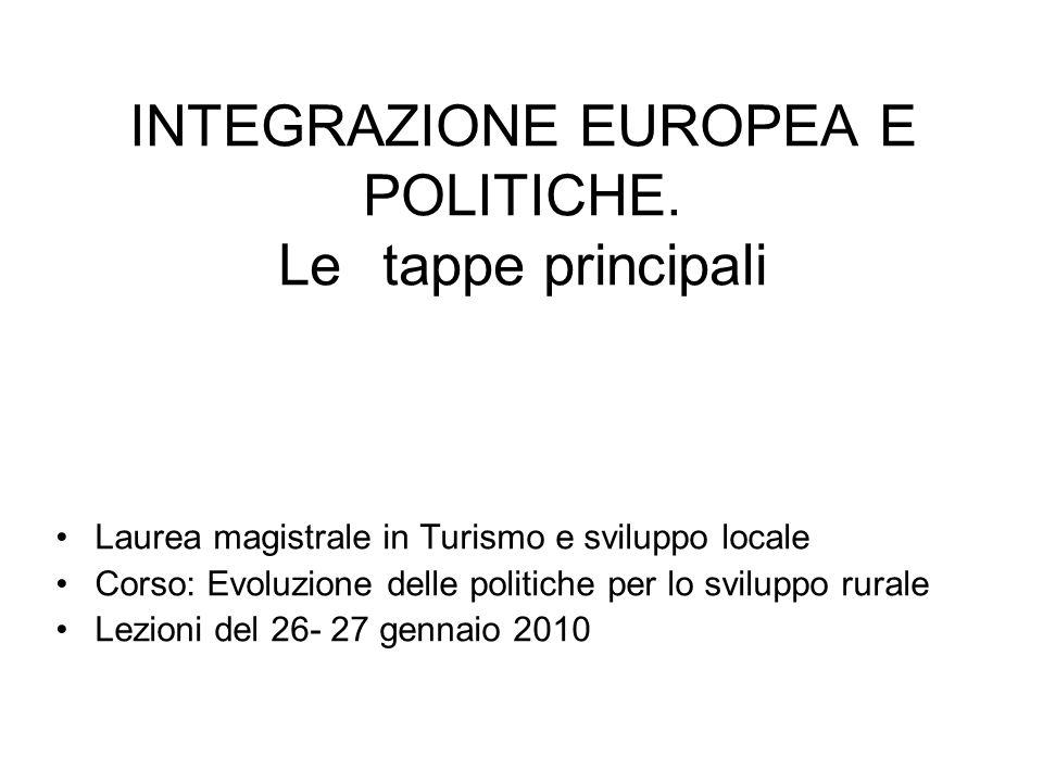 INTEGRAZIONE EUROPEA E POLITICHE. Letappe principali Laurea magistrale in Turismo e sviluppo locale Corso: Evoluzione delle politiche per lo sviluppo