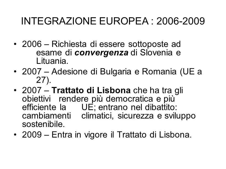 INTEGRAZIONE EUROPEA : 2006-2009 2006 – Richiesta di essere sottoposte ad esame di convergenza di Slovenia e Lituania. 2007 – Adesione di Bulgaria e R