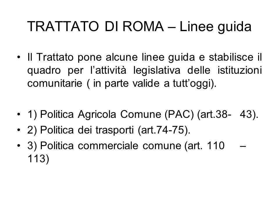 TRATTATO DI ROMA – Linee guida Il Trattato pone alcune linee guida e stabilisce il quadro per lattività legislativa delle istituzioni comunitarie ( in