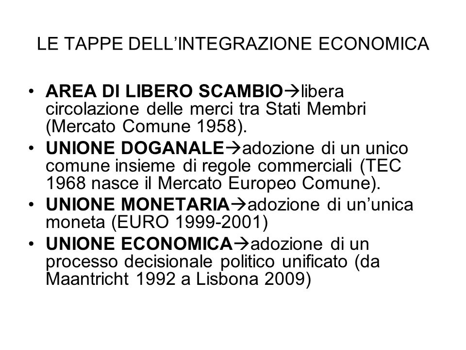 LE TAPPE DELLINTEGRAZIONE ECONOMICA AREA DI LIBERO SCAMBIO libera circolazione delle merci tra Stati Membri (Mercato Comune 1958). UNIONE DOGANALE ado
