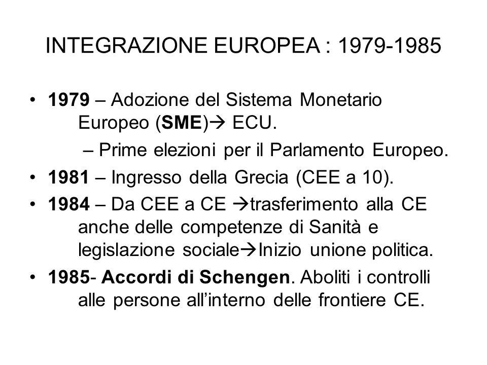 INTEGRAZIONE EUROPEA : 1979-1985 1979 – Adozione del Sistema Monetario Europeo (SME) ECU. – Prime elezioni per il Parlamento Europeo. 1981 – Ingresso