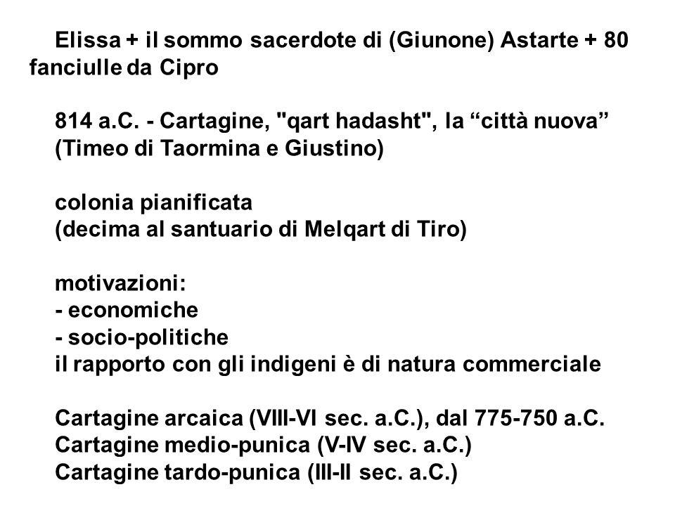Elissa + il sommo sacerdote di (Giunone) Astarte + 80 fanciulle da Cipro 814 a.C. - Cartagine,