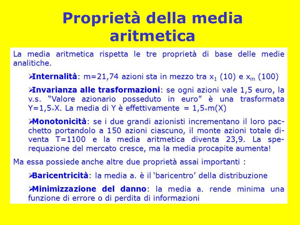 Proprietà della media aritmetica La media aritmetica rispetta le tre proprietà di base delle medie analitiche.