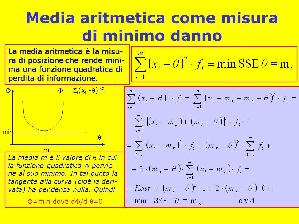 Media aritmetica come misura di minimo danno La media aritmetica è la misu- ra di posizione che rende mini- ma una funzione quadratica di perdita di informazione.