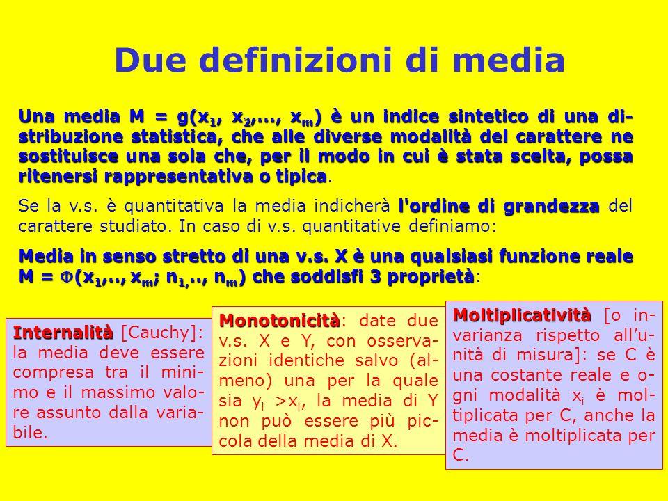 Medie analitiche, medie lasche La definizione di media in senso stretto è restrittiva.