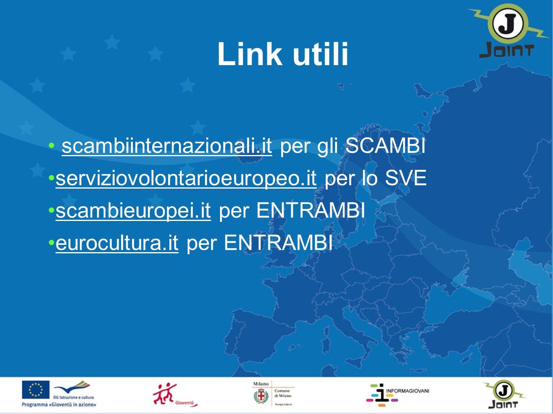 Link utili scambiinternazionali.it per gli SCAMBI serviziovolontarioeuropeo.it per lo SVE scambieuropei.it per ENTRAMBI eurocultura.it per ENTRAMBI