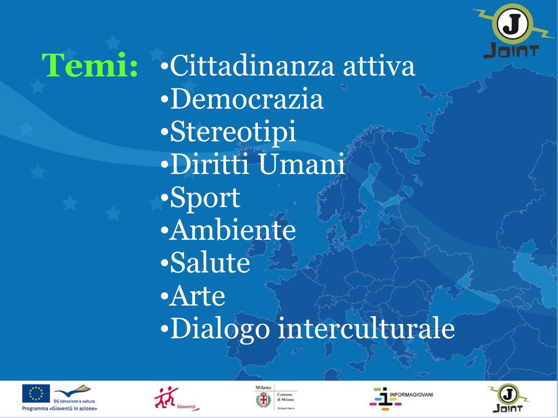 Cittadinanza attiva Democrazia Stereotipi Diritti Umani Sport Ambiente Salute Arte Dialogo interculturale Temi: