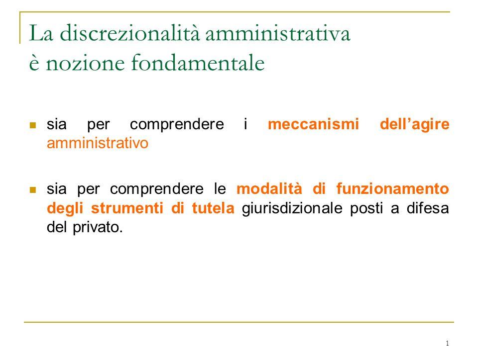 1 La discrezionalità amministrativa è nozione fondamentale sia per comprendere i meccanismi dellagire amministrativo sia per comprendere le modalità d