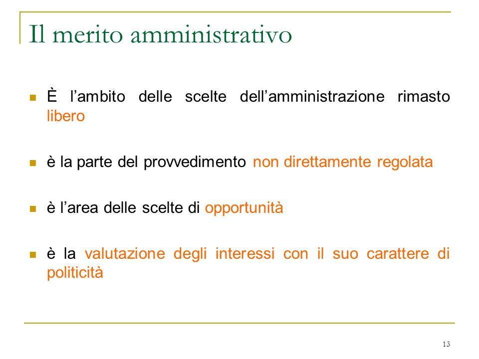 13 Il merito amministrativo È lambito delle scelte dellamministrazione rimasto libero è la parte del provvedimento non direttamente regolata è larea d