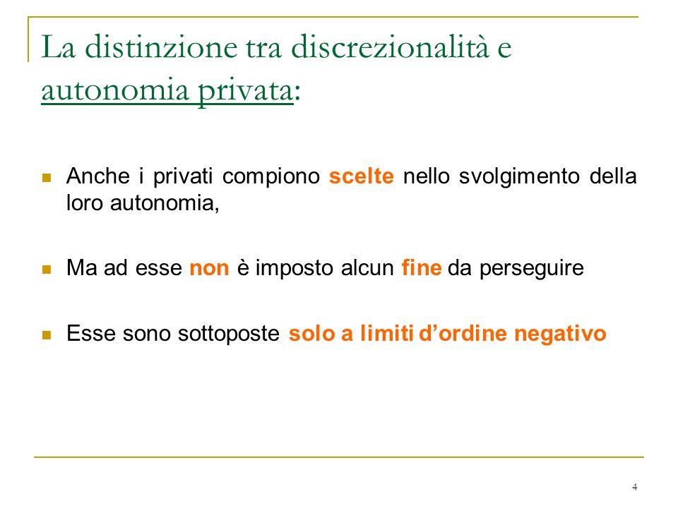 4 La distinzione tra discrezionalità e autonomia privata: Anche i privati compiono scelte nello svolgimento della loro autonomia, Ma ad esse non è imp
