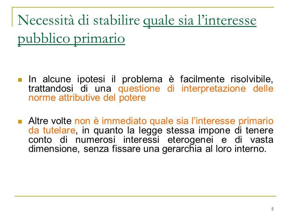 8 Necessità di stabilire quale sia linteresse pubblico primario In alcune ipotesi il problema è facilmente risolvibile, trattandosi di una questione d