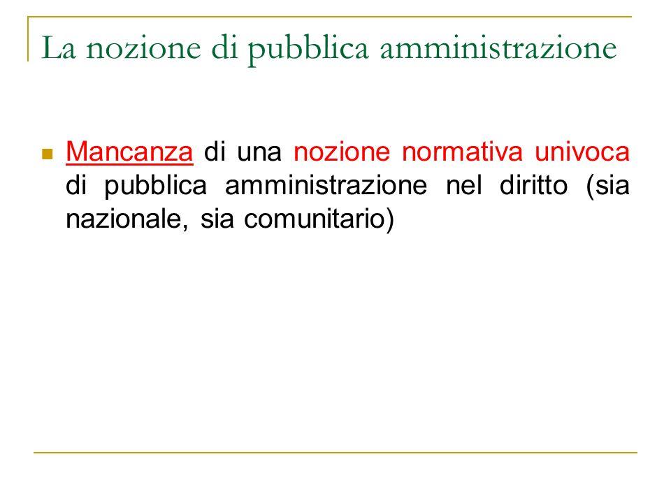 L a nozione di pubblica amministrazione Mancanza di una nozione normativa univoca di pubblica amministrazione nel diritto (sia nazionale, sia comunita