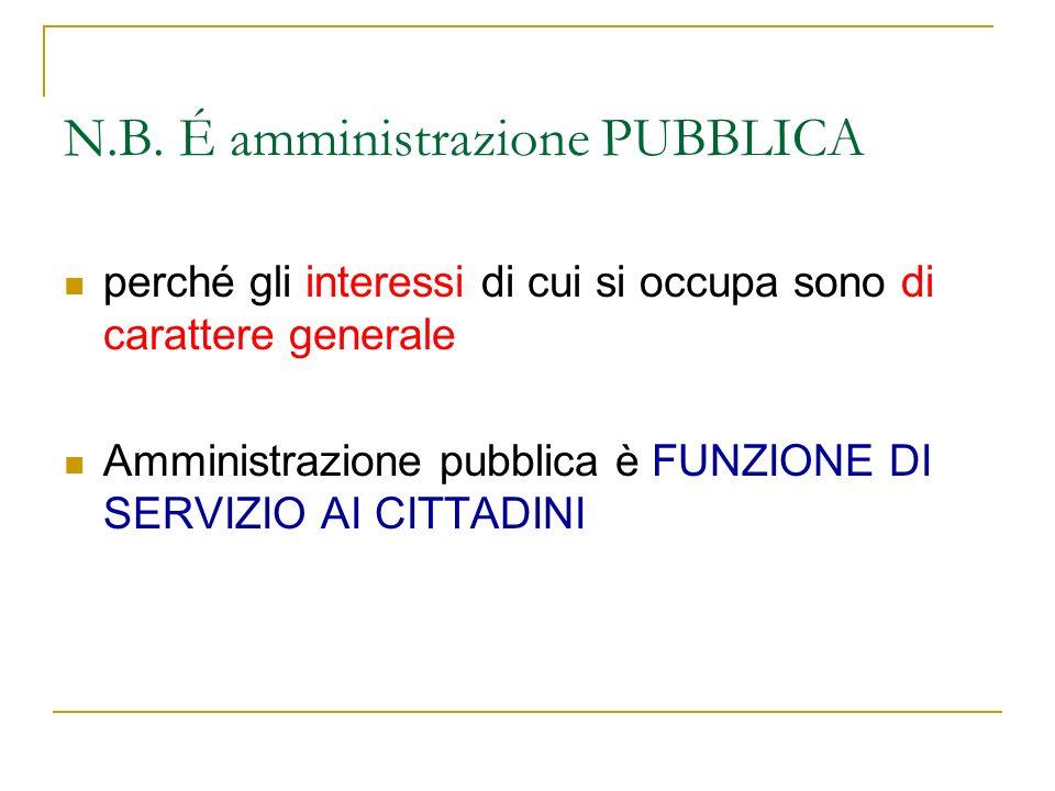 N.B. É amministrazione PUBBLICA perché gli interessi di cui si occupa sono di carattere generale Amministrazione pubblica è FUNZIONE DI SERVIZIO AI CI