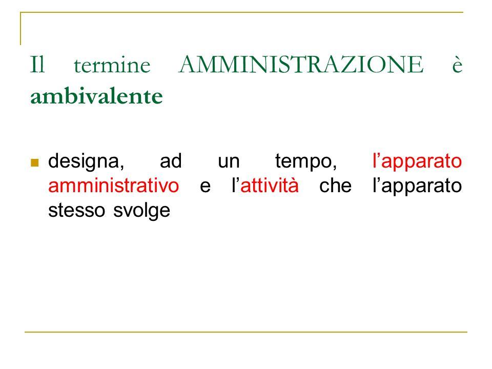 Il termine AMMINISTRAZIONE è ambivalente designa, ad un tempo, lapparato amministrativo e lattività che lapparato stesso svolge
