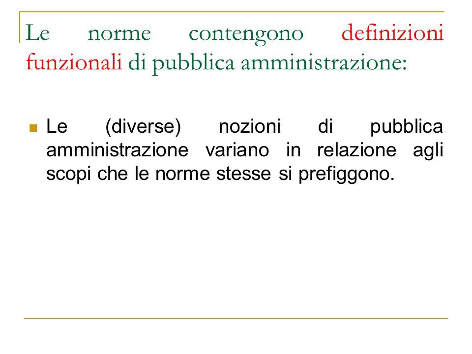Le norme contengono definizioni funzionali di pubblica amministrazione: Le (diverse) nozioni di pubblica amministrazione variano in relazione agli sco