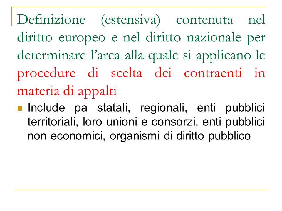 Definizione (estensiva) contenuta nel diritto europeo e nel diritto nazionale per determinare larea alla quale si applicano le procedure di scelta dei