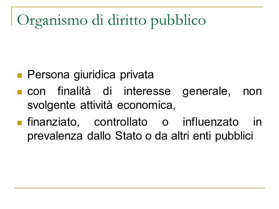 Organismo di diritto pubblico Persona giuridica privata con finalità di interesse generale, non svolgente attività economica, finanziato, controllato