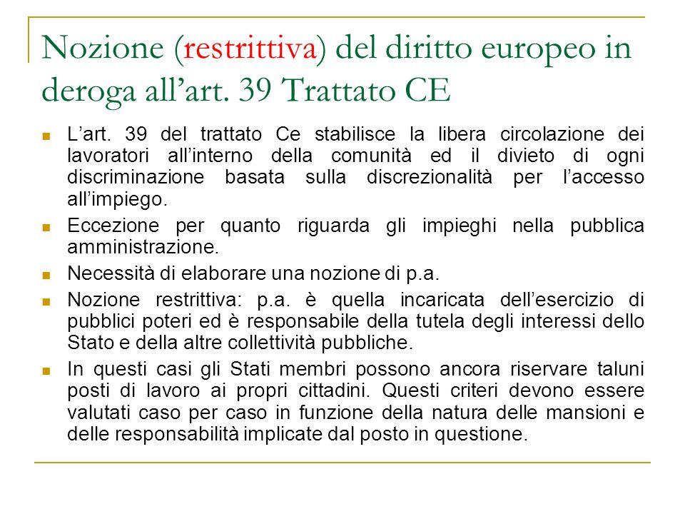 Nozione (restrittiva) del diritto europeo in deroga allart. 39 Trattato CE Lart. 39 del trattato Ce stabilisce la libera circolazione dei lavoratori a