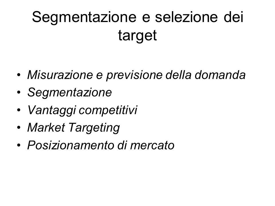 Segmentazione e selezione dei target Misurazione e previsione della domanda Segmentazione Vantaggi competitivi Market Targeting Posizionamento di mercato