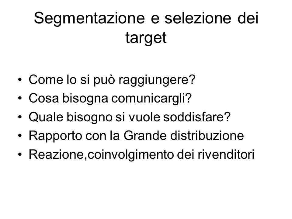Segmentazione e selezione dei target Come lo si può raggiungere.