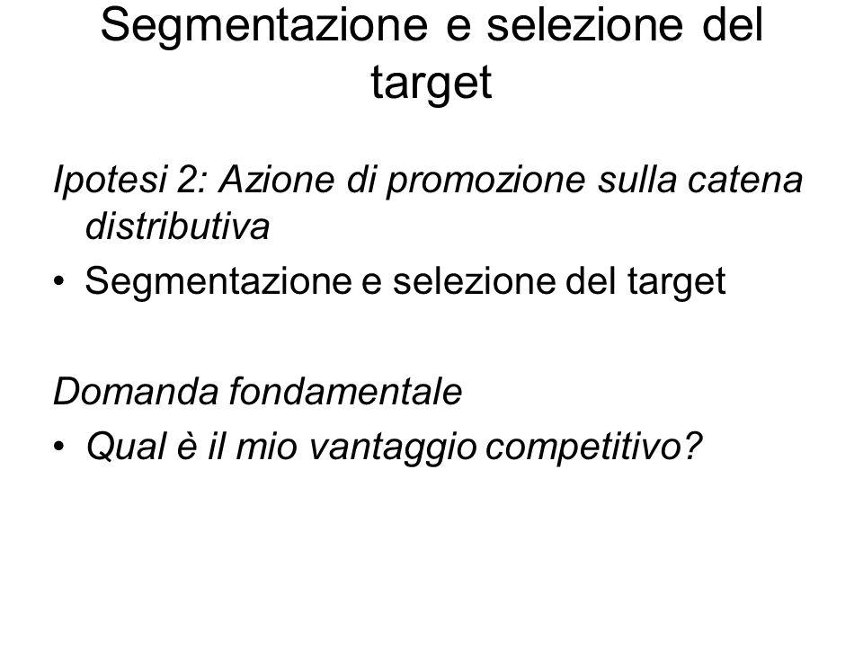 Segmentazione e selezione del target Ipotesi 2: Azione di promozione sulla catena distributiva Segmentazione e selezione del target Domanda fondamentale Qual è il mio vantaggio competitivo?