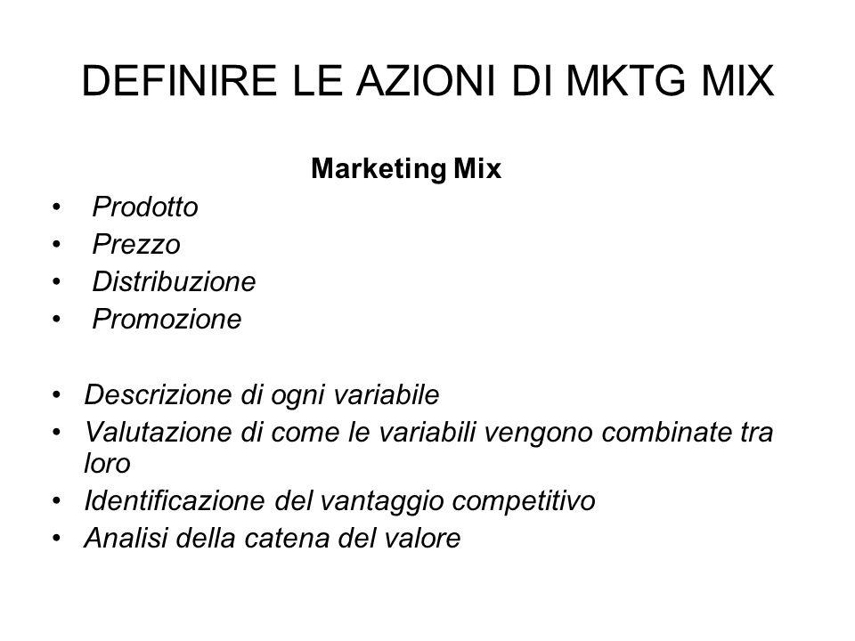 DEFINIRE LE AZIONI DI MKTG MIX Marketing Mix Prodotto Prezzo Distribuzione Promozione Descrizione di ogni variabile Valutazione di come le variabili vengono combinate tra loro Identificazione del vantaggio competitivo Analisi della catena del valore